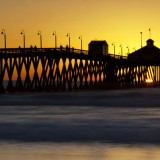 pier, patterns, tripod, yellow, vibrant, sunset, pacific, ocean, imperial beach, photograph, image