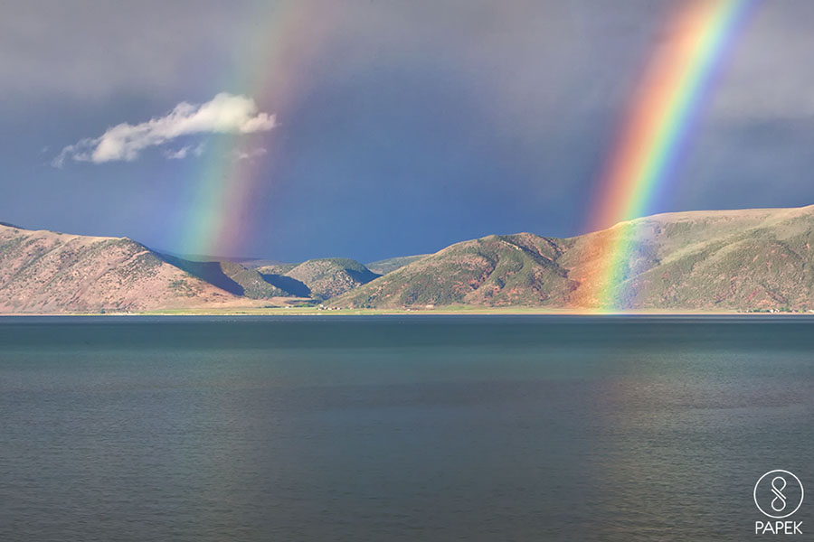 Two rainbows on Bare Lake in Utah.