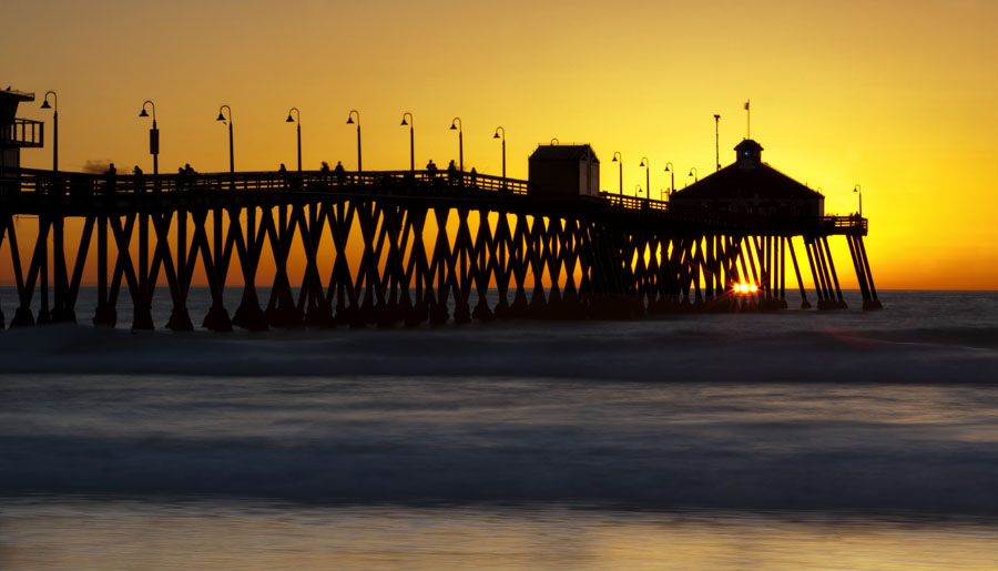 pier, patterns, tripod, yellow, vibrant, sunset, pacific, ocean, imperial beach, photograph, image, photo