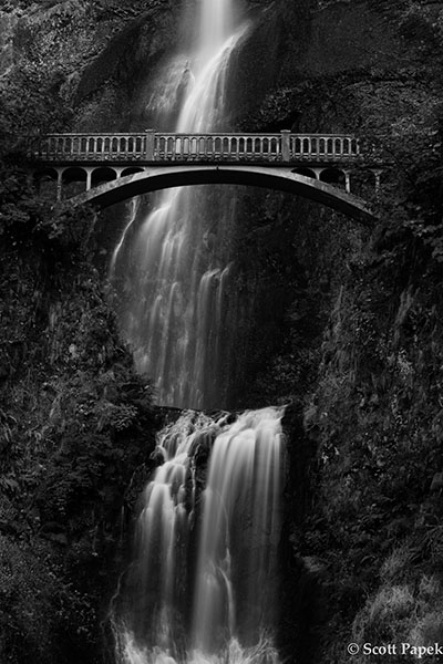 Waterfall, Oregon, Black and White, photo