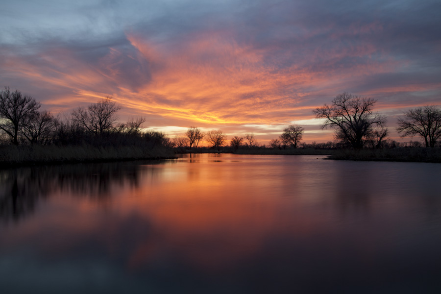 2014 Nebraska Calendar, kearney, sunset, over fishing pond, lake, photography, reflection, photo