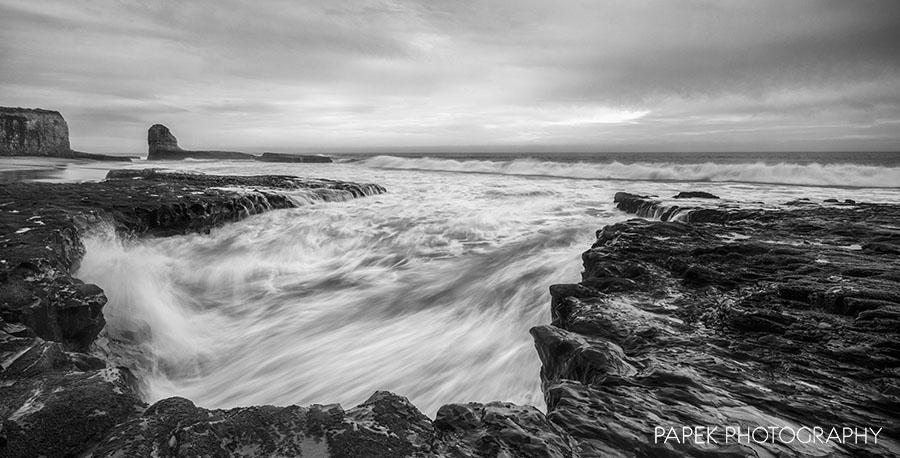 black and white, California, ocean, photo