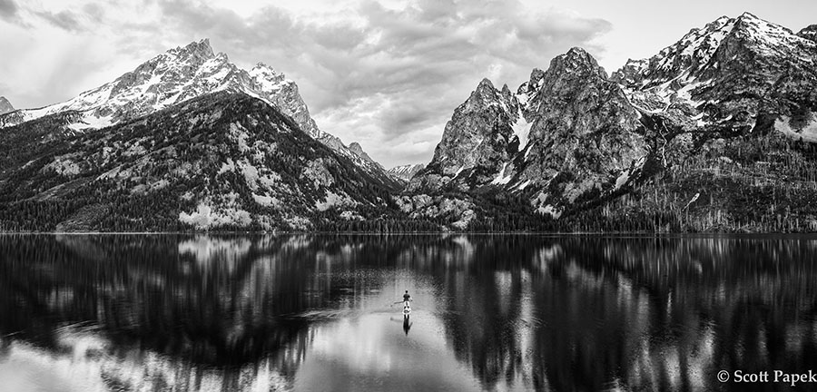 Wyoming, Black and White, lake, mountains,, photo